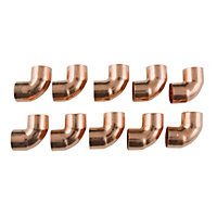 End Feed 90 Degree Bend Fitting - Copper - 15mm - 10 Pack