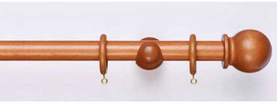 Homebase Mid Oak Wooden Curtain Pole and Ball Finial - 1.8m
