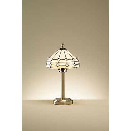 Image for Mirror Tiffany Style Table Lamp - Antique Brass Effect - 43.5cm from StoreName