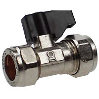 Isolating Valve with On Off Handle Compression Fitting - 15mm