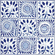 V and A William De Morgan Cobalt Squares Tiles - 152 x 152mm