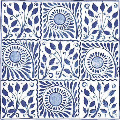Image for V and A William De Morgan Cobalt Squares Tiles - 152 x 152mm from StoreName