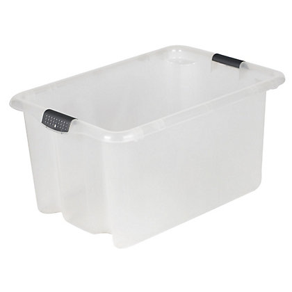 Image for Stackabox Plastic Storage Crate - Clear - 51L from StoreName