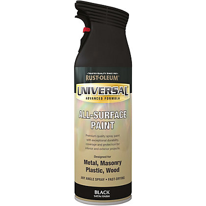 Image for Rust-Oleum Universal Satin Spray Paint - Black - 400ml from StoreName