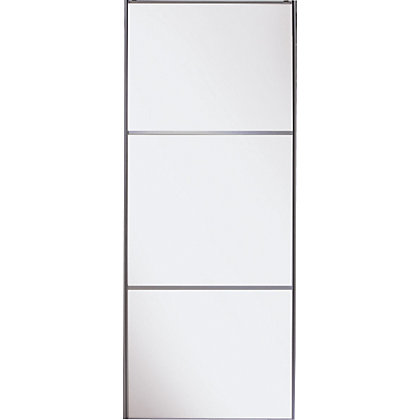 Image for Linear White Wooden Frame White Wooden Panel Sliding Door - 914mm from StoreName
