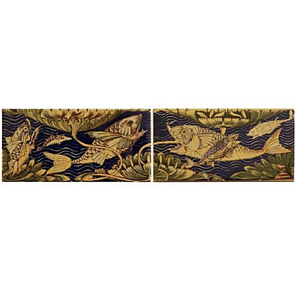 Image for V&A William De Morgan Fish Ceramic Wall Tile 2 pack from StoreName