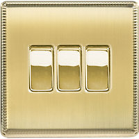 Laura Ashley 10A 2-Way Light Switch - Triple - Brushed Brass