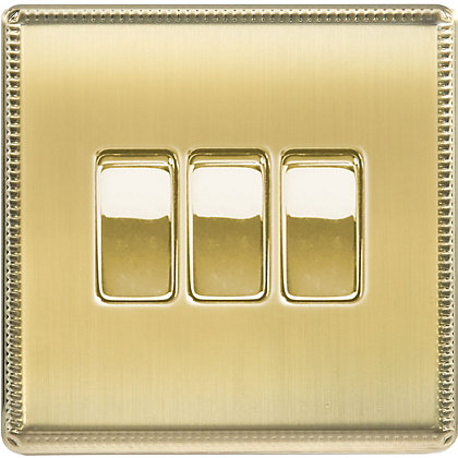 Image for Laura Ashley 10A 2-Way Light Switch - Triple - Brushed Brass from StoreName