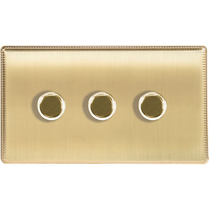 Image for Laura Ashley 400W Push Dimmer Switch - Triple - Brushed Brass from StoreName