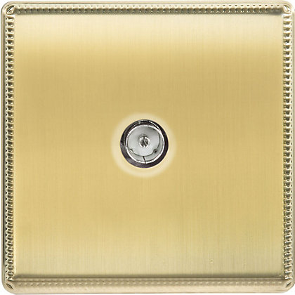 Image for Laura Ashley TV or FM Co-Axial Outlet - Brushed Brass from StoreName