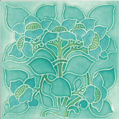 Image for V&A Clematis Turquoise Wall Tile - 150 x 150mm from StoreName
