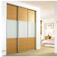 Wideline Sliding Door - Oak effect and white glass - 610mm