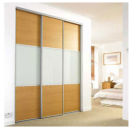 Image for Wideline Sliding Door - Oak effect and white glass - 610mm from StoreName