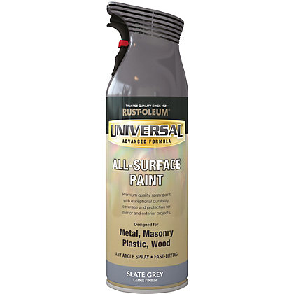oleum universal gloss spray paint slate grey 400ml from storename. Black Bedroom Furniture Sets. Home Design Ideas