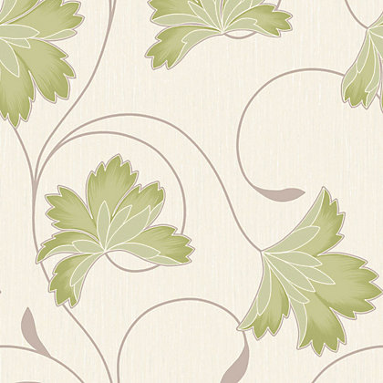 Image for Crown Flourish Vinyl Wall Covering - Apple Green from StoreName