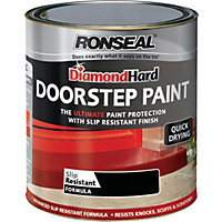 Ronseal Diamond Hard Black - Doorstep Satin Paint - 750ml