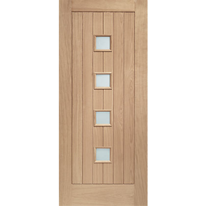 Image for Siena 4 Panel Double Glazed Oak External Door - 762mm Wide from StoreName