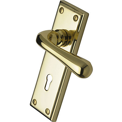 Lever Lock Door Handle Polished Brass 1 Pair