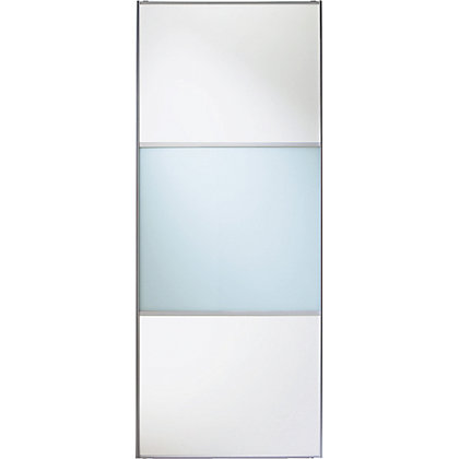 Image for Linear White Wooden and Soft White Glass Sliding Door - 914mm from StoreName