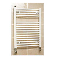 Richmond Curved Heated Towel Rail - 764 x 500mm - White
