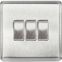 Laura Ashley 10A 2-Way Light Switch - Triple - Brushed Stainless Steel