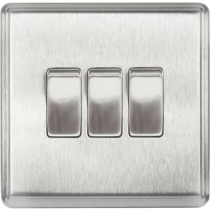Image for Laura Ashley 10A 2-Way Light Switch - Triple - Brushed Stainless Steel from StoreName