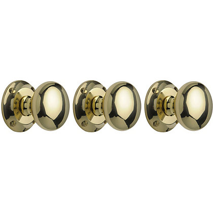 Image for Victorian Mortice Door Knobs - Polished Brass - Pack of 3 from StoreName