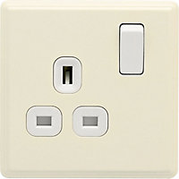 Laura Ashley 13A DP Switched Socket - 1-Gang - Cream