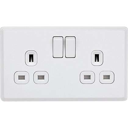 Image for Laura Ashley 13A DP Switched Socket - 2-Gang - Cream from StoreName