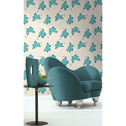 Image for Crown Flourish Vinyl Wall Covering - Azure from StoreName