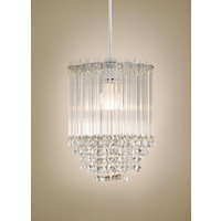 Icicles Tiered Pendant - Clear Glass Beads - Chrome Finish