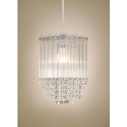 Image for Icicles Tiered Glass Beads & Chrome Pendant Light from StoreName