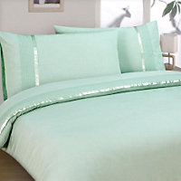 Aimee Ribbon and Pleat Duvet Cover Set - Duck Egg - Double