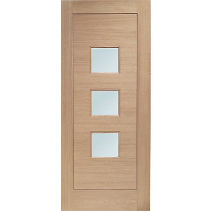 Image for Turin 3 Panel Double Glazed Oak External Door - 838mm Wide from StoreName