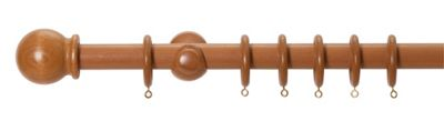 Homebase Mid Oak 28mm Wood Curtain Pole and Ball Finial - 1.5m