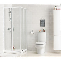 Aqualux Crystal Corner Entry Enclosure White- 760 x 800mm