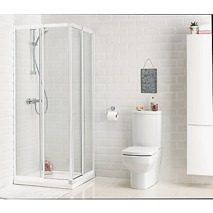 Image for Aqualux Crystal Corner Entry Shower Enclosure - 760 x 800mm - White from StoreName