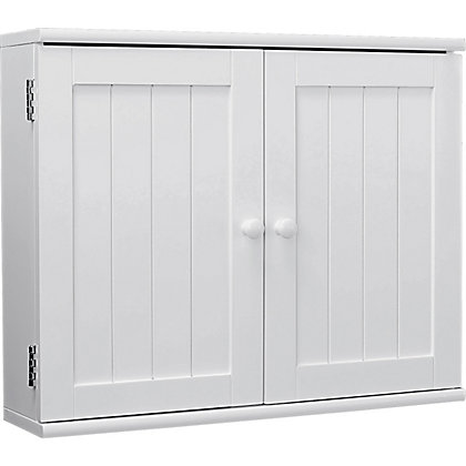 Tongue and groove 2 door wooden bathroom cabinet white for Homebase kitchen cabinets