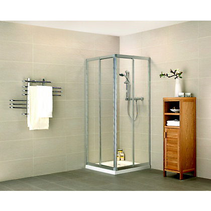 Image for Aqualux Crystal Corner Entry Shower Enclosure - 800mm or 760mm - Silver from StoreName