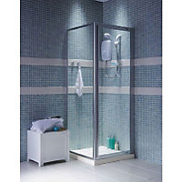 Haze Pivot Shower Enclosure And Tray Silver 760 X 760mm