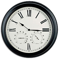 Wall Clock with Humidity and Temperature - Black