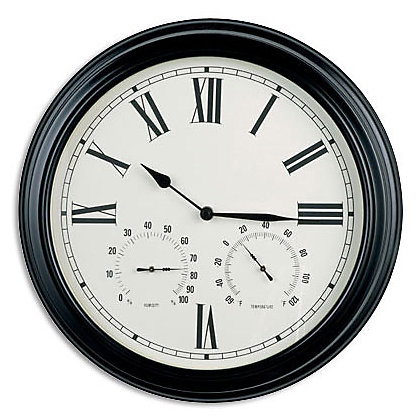 image for wall clock with humidity and temperature black from