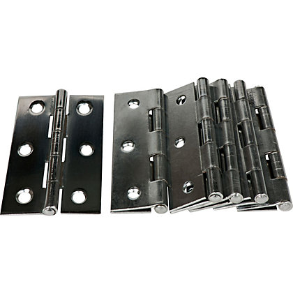 Image for Chrome Plate Interior B Hinge - 75mm - 6 Pack from StoreName