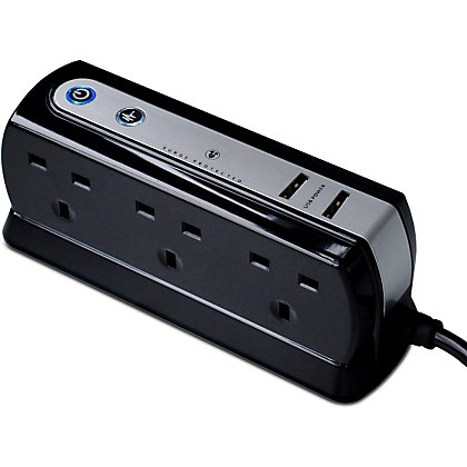 Image for 6 Socket 13A Surge Protected Extension Lead With USB Charging - Gloss Black - 2m from StoreName