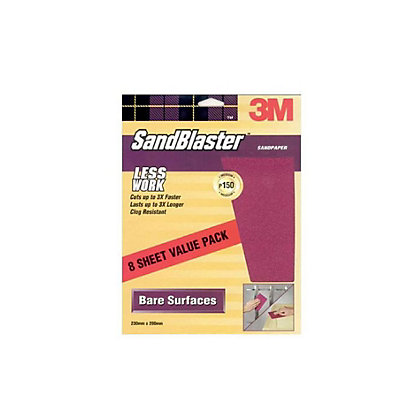 Image for 3M SandBlaster Medium P150 Sandpaper - 8 pack from StoreName