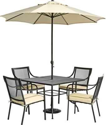 Rimini 4 Seater Metal Garden Furniture Set Home Delivery £199 87 at Homebas