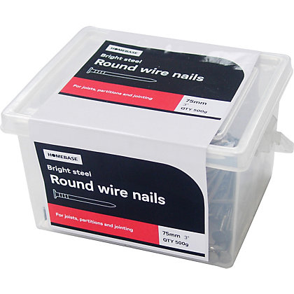 Image for Round Wire Nail - Bright Steel - 75mm - 500g from StoreName