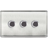 Laura Ashley 400W Push Dimmer Switch - Triple - Brushed Stainless Steel
