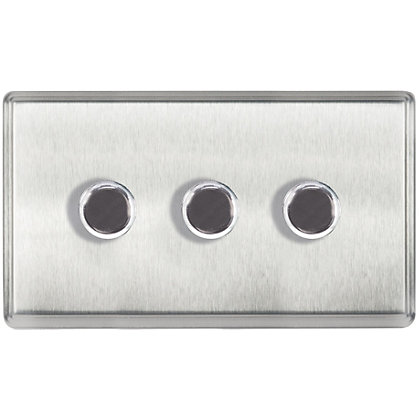 Image for Laura Ashley 400W Push Dimmer Switch - Triple - Brushed Stainless Steel from StoreName
