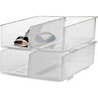 2 Tier Stacking Shoe Tidy - Clear